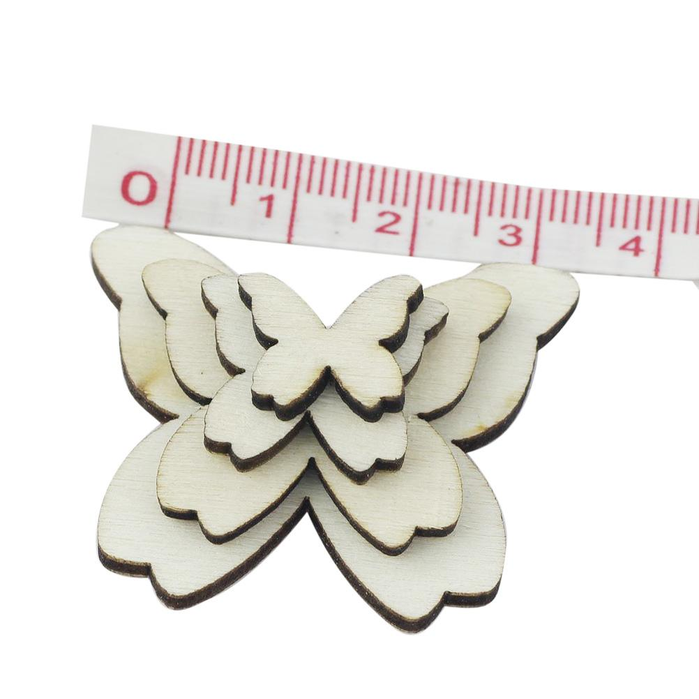 50pcs Mixed Size Wooden Butterfly Cutouts Craft Embellishment Gift Tag Wood Ornament for DIY