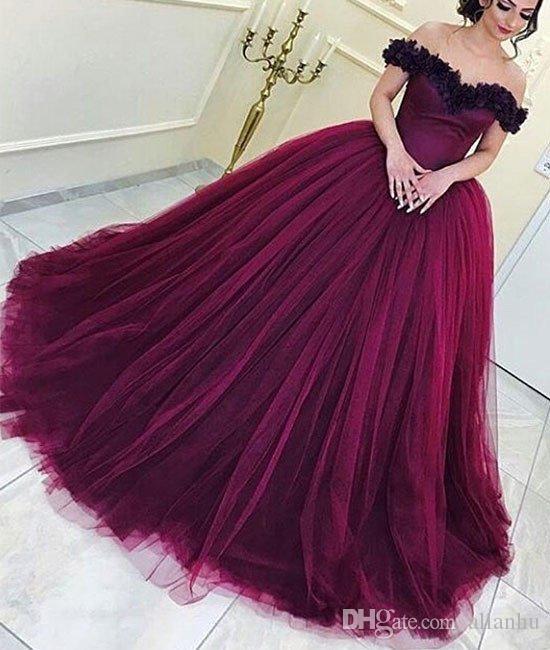 2017 Dark Red Ballkleid Quinceanera Kleider Schulterfrei Falten Tüll Arabisch Dubai Sexy Formale Abendgesellschaft Kleider Nach Maß