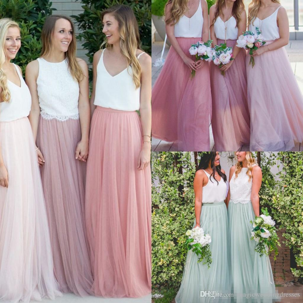 Modest Two Piece Bohemian Bridesmaid Dresses Pink Tulle Skirts ...