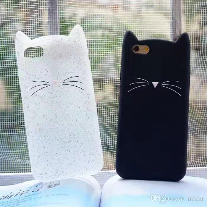For iphone 5 6 Phone Cases Shell 3D Bearded Cat Silicone Soft Cover for iPhone 7 i7 Bag funda