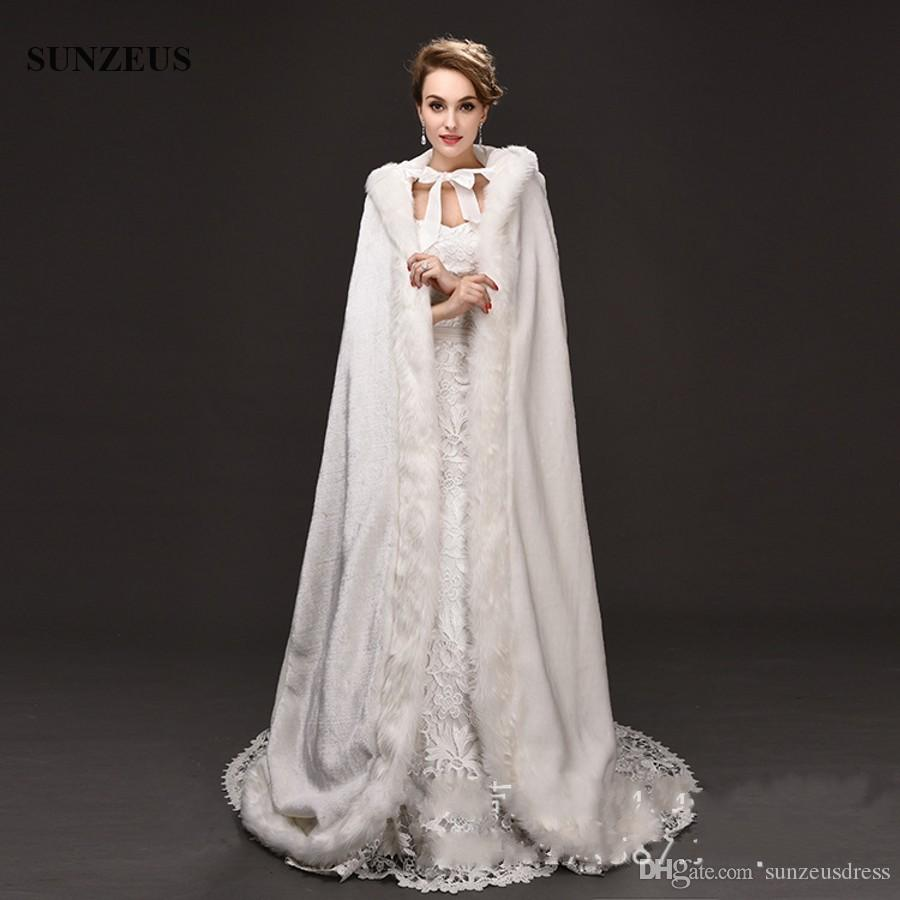 Floor Length Long Bridal Cloak Faux Fur Hooded Winter Cloak
