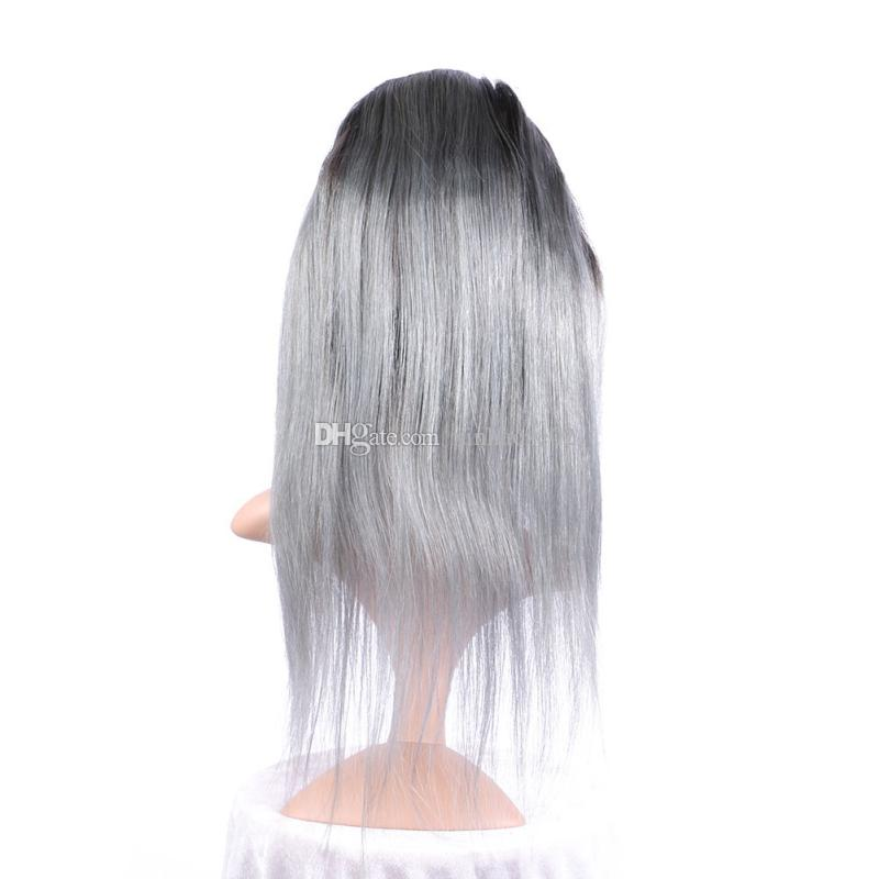 Gümüş 1bTGrey Ombre 360 Band Dantel Frontal Kapatma Ön Koparıp Bakire Brezilyalı Saç Düz Tam Cepheler Ile 360 Dantel Kapatma Bebek Saç