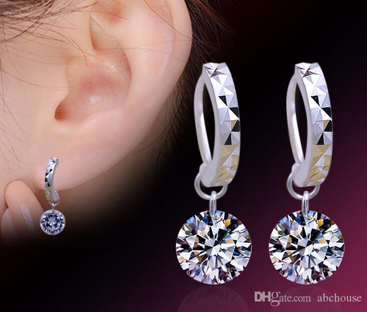 Neue Schmucksachen Österreich Kristallbloßes Bohrgerät Baumeln Ohrringe 925 Sterlingsilber Kubikzircon Ohrringe für Hochzeitsfest 20 Paare Freies Verschiffen