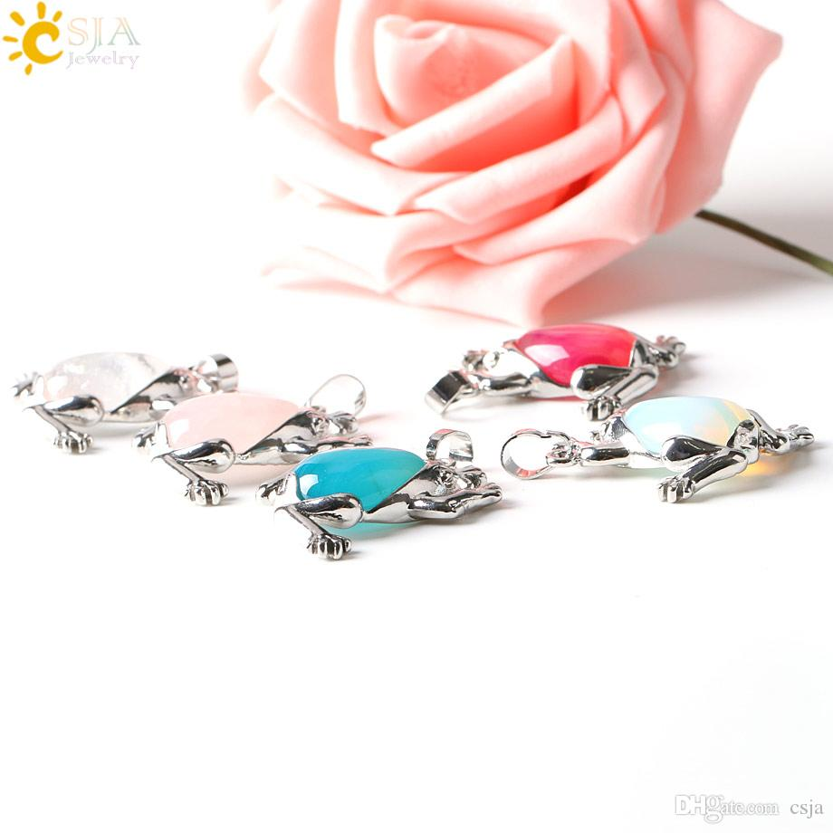 CSJA Promotion Male Female Slide Natural Stone Charms Lucky Frog Animal Pendants for Choker Long Sweater Necklace DIY Making E229