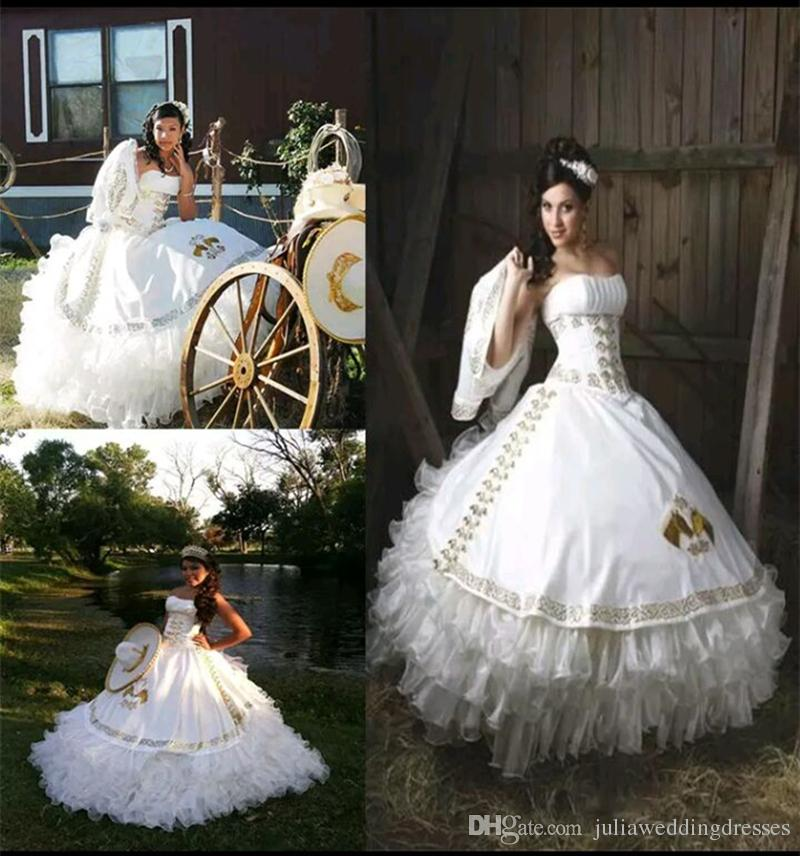 2017 Sexy White Gold Ball Gown Quinceanera Dresses with Embroidery Beaded Sweet 16 Dress Lace Up Floor Length Vestido De Festa BM99