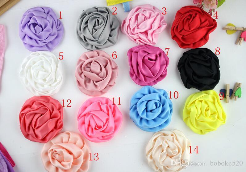 Multilayer Rosette Flowers Artificial Flatback Chiffon Fabric Rose Flower DIY Wedding Headwear kids Baby Girls Hair Accessories