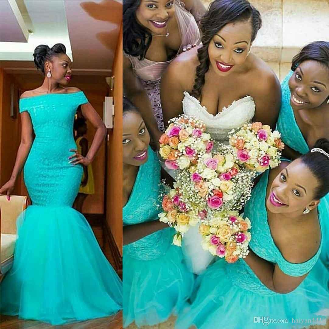 2021 빈티지 아프리카 인어 긴 신부 들러리 드레스는 청록색 민트 Tulle 레이스 아플리케 플러스 사이즈 하녀 명예의 신부 파티 가운