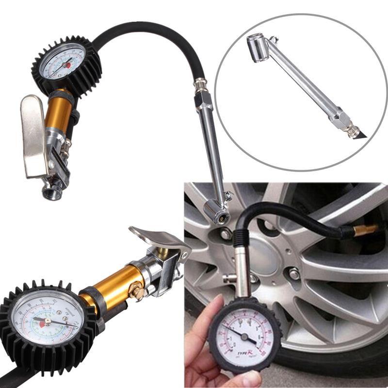 Auto Car Truck Motorcycle Pistol Flexible Hose 220 PSI Tire Pressure Gauge Air Inflator Gun