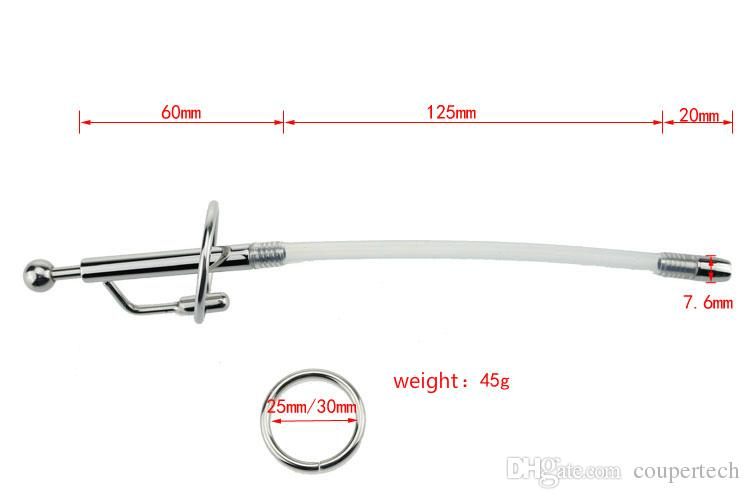 Free Shiping!!7.6*210mm silicone urethral sounds metal urethral dilators penis plug catheters sounds sex toys for men penis CPA076