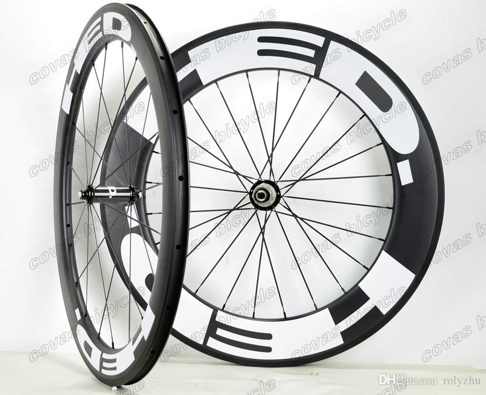 Ruote in carbonio 700C 25mm Larghezza Ruote anteriori 60mm posteriori 88mm Copertoncino bici da strada / copertoncino Tunbular con mozzo dritto Powerway R36 Finitura opaca UD