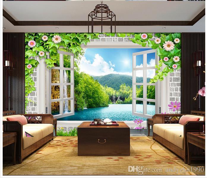3d foto papel de parede personalizado 3d murais de parede papel de parede mural janela flores fundo parede 3d sala de estar decoração da parede