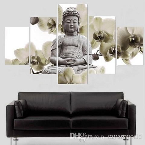 2018 Framed 5 PanelsFlora Buddha,Genuine Hand Painted Contemporary ...
