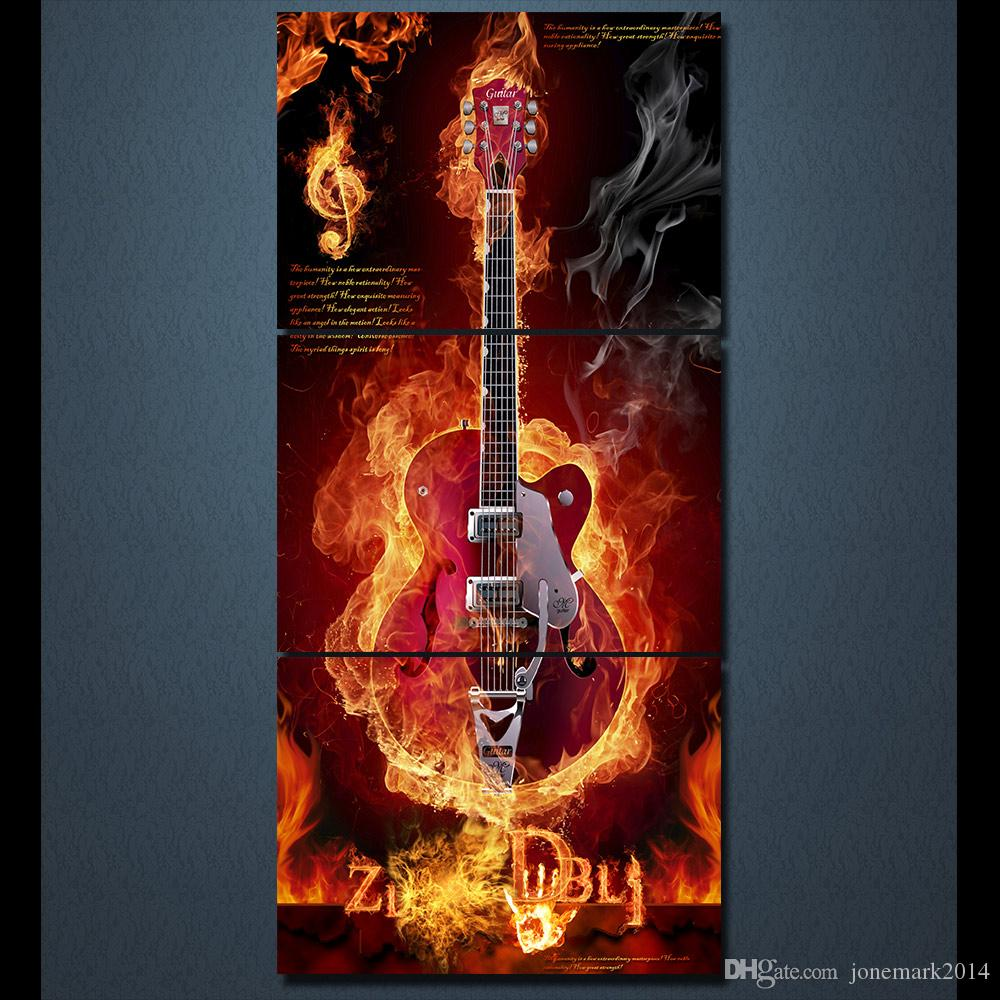 Framed HD Printed Music Burning Flame Guitar Modern Canvas Painting On The Wall Art Modular Pictures Home Decor Poster
