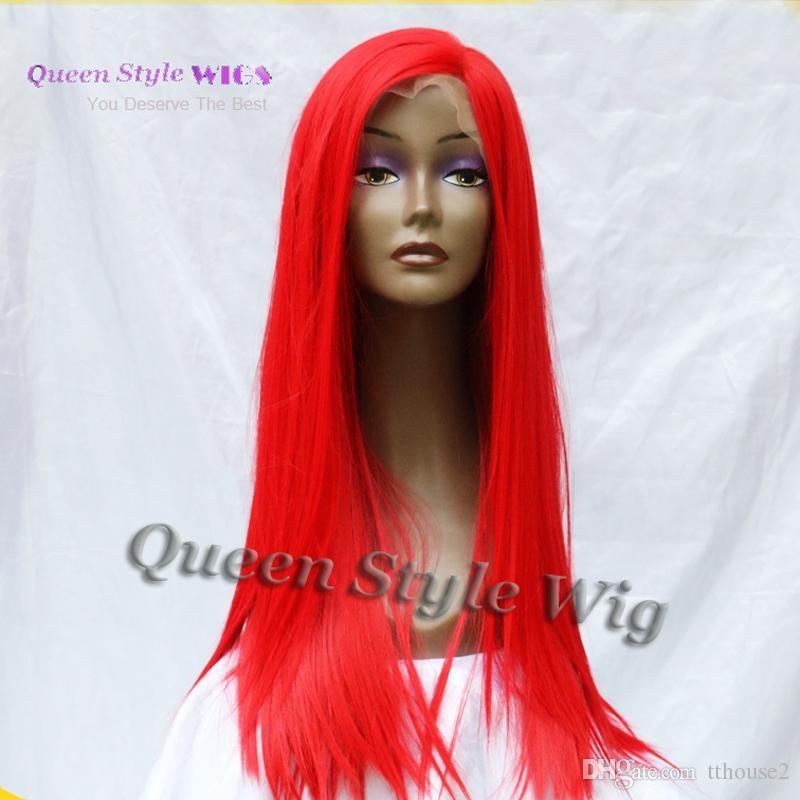 Sirène couleur rouge vif cosplay perruque longue soie soyeuse feu chaud cheveux rouges cheveux synthétiques sans colle avant perruque