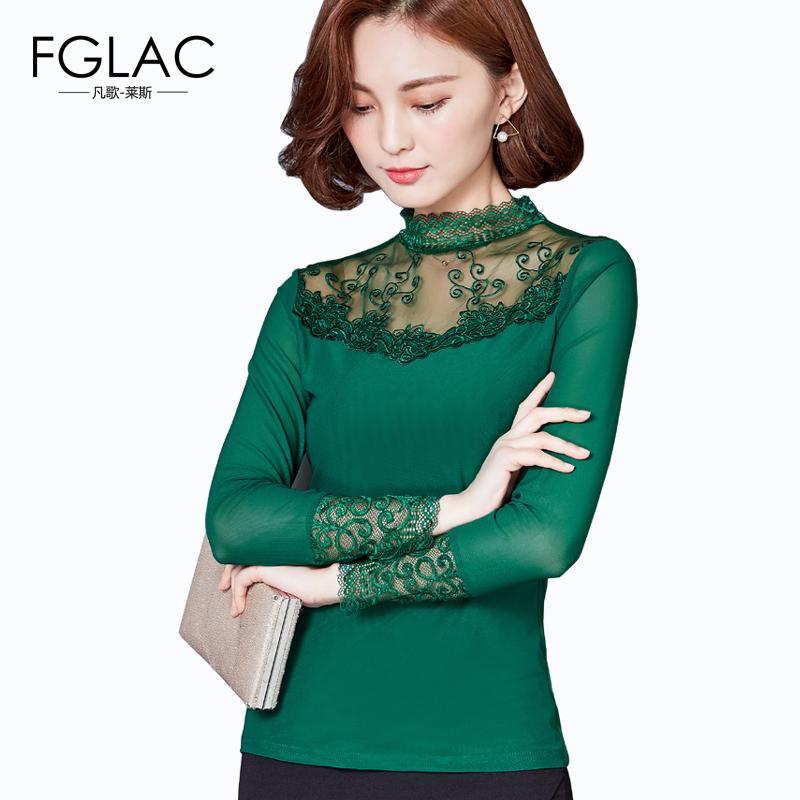 38dcb52b9e2 2019 Wholesale Mesh Blouse New 2017 Spring Women Blouse Shirt Fashion  Casual Long Sleeved Lace Tops Elegant Slim Hollow Women Shirts Blusas From  Clothesg009 ...