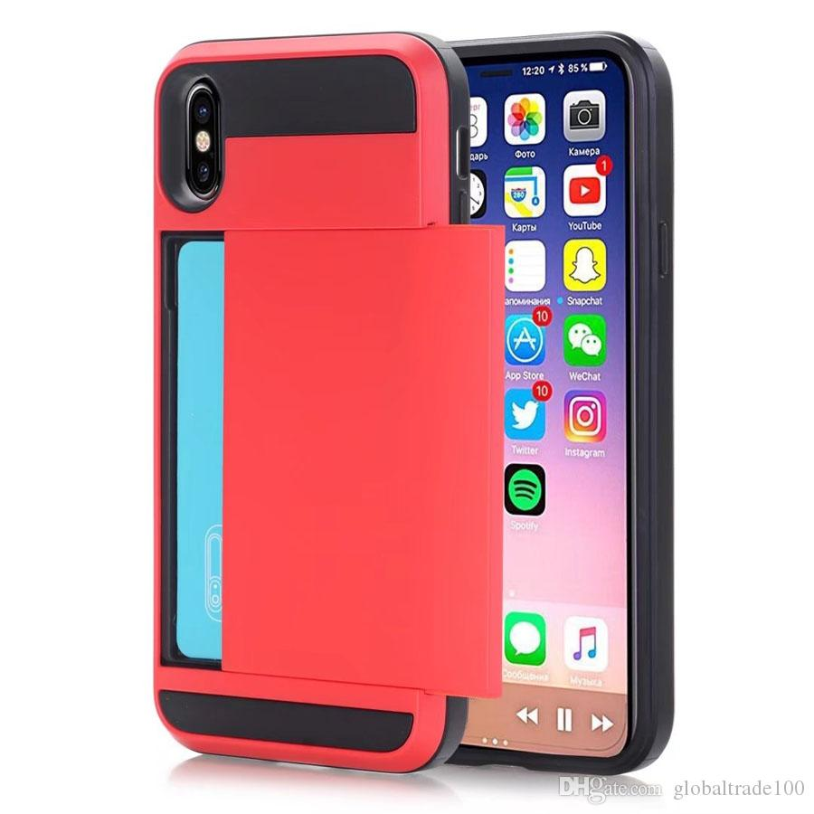 Hybrid Hard Shockproof Armor With Card Pocket Wallet Case For iPhone XS Max iPhone XR 8 Plus Sumsung Note 9 S9 Plus Cases