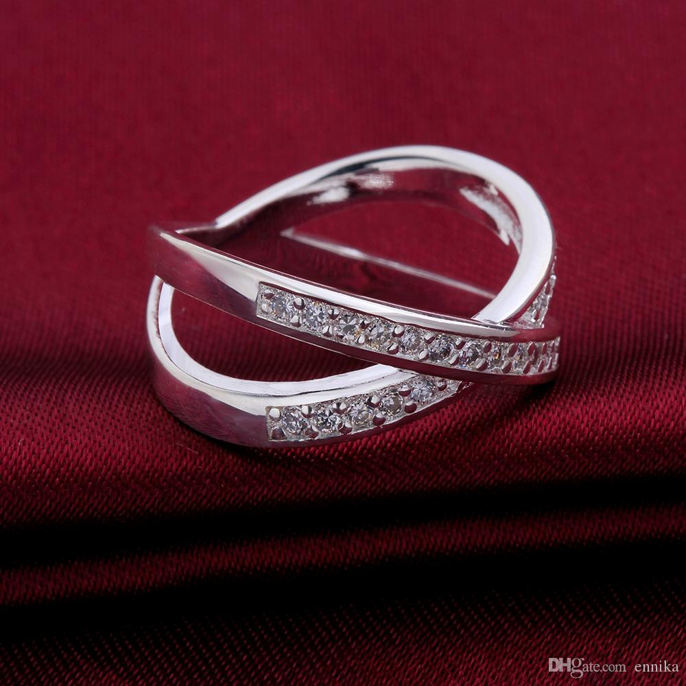 Engagement 925 Silver Ring Pretty Cross With Zircon Finger Rings Size 7 8 For Women New Fashion Mark 925 Jewelry r487