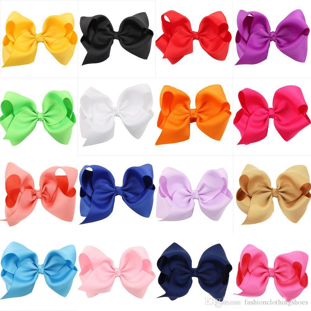 4,7-Zoll-Boutique-Bögen mit Klipp-Baby-Haar-Clips Solid Color Ripsband Big-Bogen-Knoten Barrettes Kinder Haarschmuck