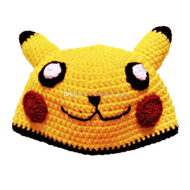 Großhandel Schöne Gelbe Pikachu Hut Handgemachte Stricken Häkeln
