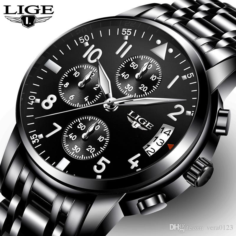 45a7cf79bc6 Relogio Masculino LIGE Mens Watches Top Brand Luxury Fashion Business  Quartz Watch Men Sport Full Steel Waterproof Black Clock Sale Watch Online  Watches For ...
