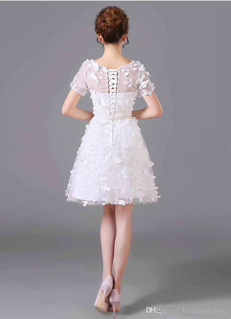 2016 Sexy 3D Floral Short Wedding Dresses Cheap Bateau A Line Wedding Bridal Dress Gowns Lace Up Amelia Sposa With Short Sleeve