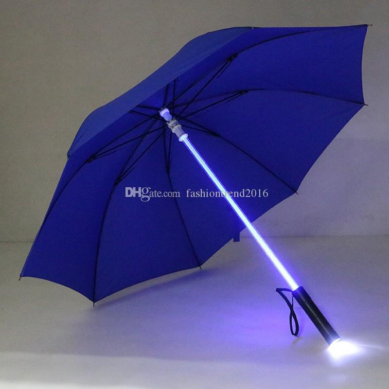 Cool Light LED Flash Umbrella Night Mini Torch Rain Sun Protective Umbrellas for Men Women DHL&FEDEX