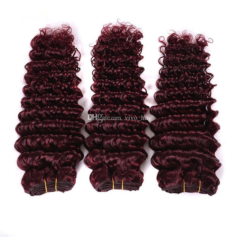Burgunder-indische Jungfrau-Haar 3 Bundles mit Verschluss # 99J tiefe Wellen-Menschenhaar-Einschlagfäden mit Spitze-Schließungs-Wein-Rot-gelocktem Haar