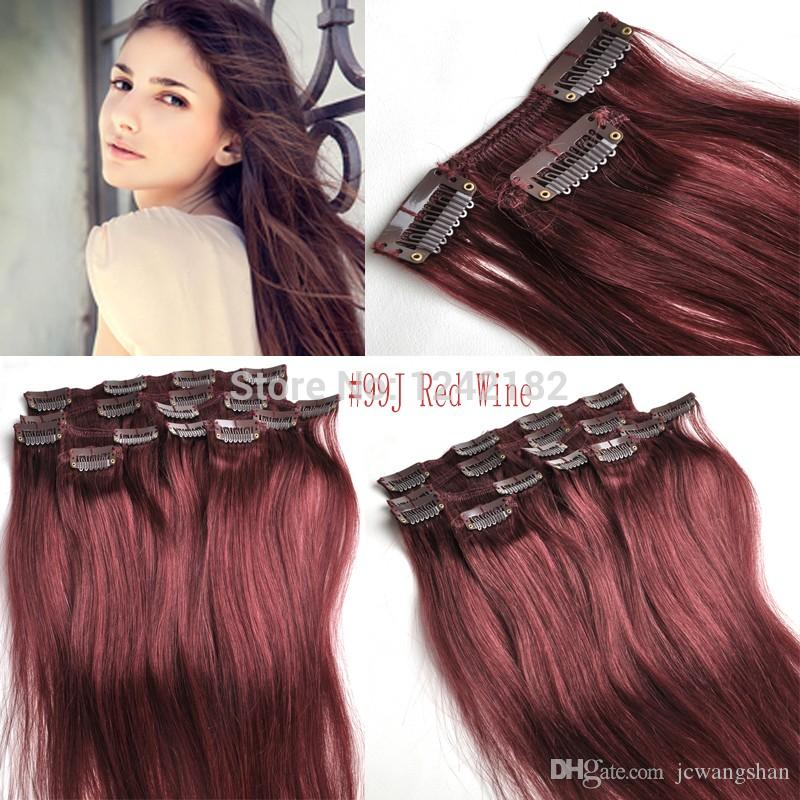 99j red wine virgin remy hair clip in human remy hair extension 99j red wine virgin remy hair clip in human remy hair extension full head set 100 certified human clip in hair weave hair extensions white girl white girl pmusecretfo Choice Image