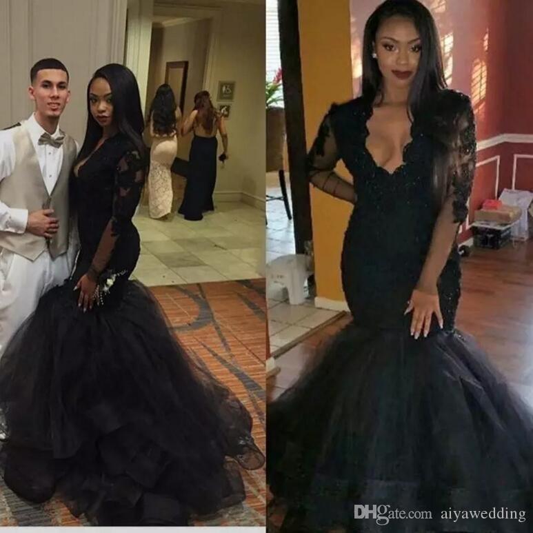 2019 Black New Arabic Beaded Mermaid Evening Dresses V-neck Lace Sheer Long Sleeves Appliques Elegant Black Girls Prom Party Gowns 2K17