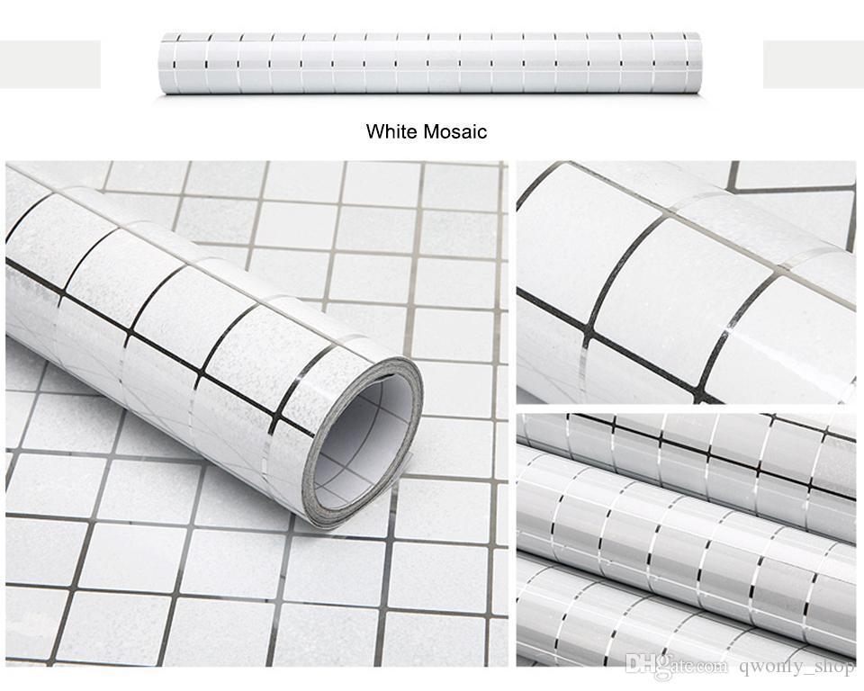 Cozinha adesivo de parede pvc telha do mosaico papel de parede papel de parede paredes do banheiro à prova d 'água adesivos papéis de parede para cozinha home decor 45 cm * 5 m / roll