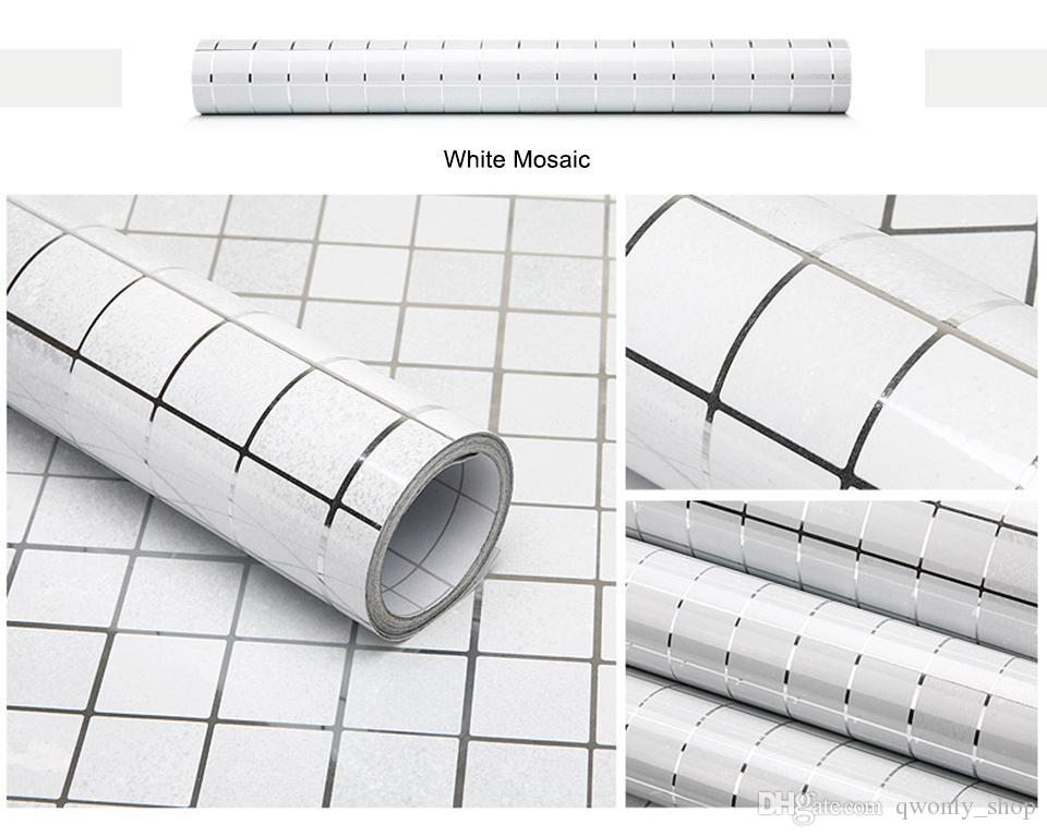 Kitchen Wall Sticker PVC Mosaic Tile Wallpaper Bathroom Walls Paper Waterproof Stickers Wallpapers For Kitchen Home Decor 45cm*5M/roll