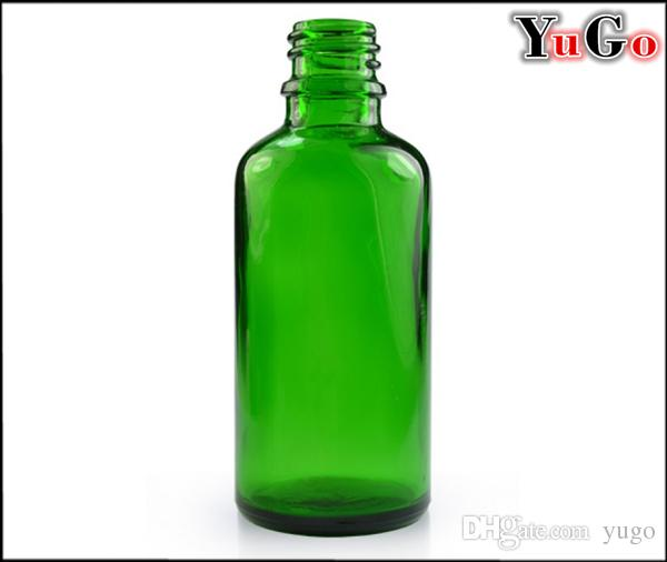 GR-1#-50ml Round Glossy Clear, Blue, Amber, Green Glass E-Liquid Bottle; Child Proof Resistant Cap; Slender Dropper/Pipette