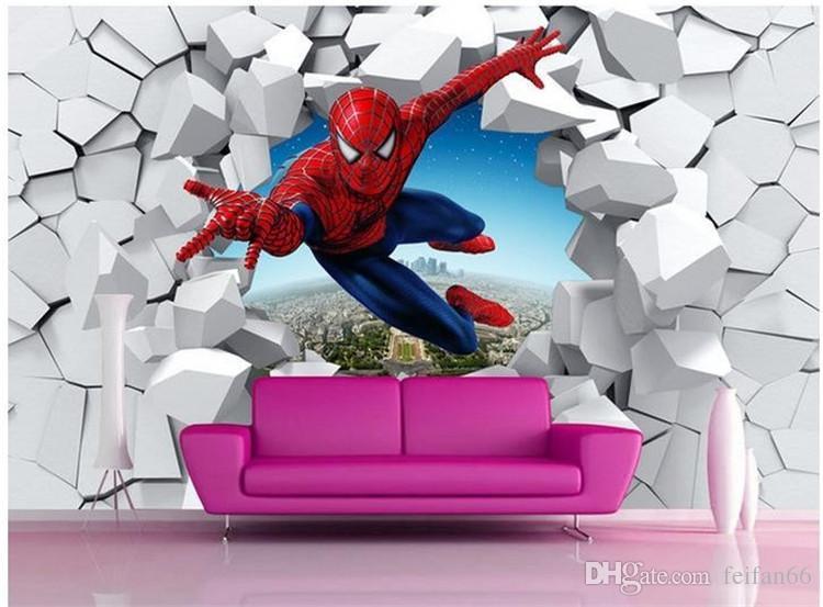 Grandes murais 3 d homem-aranha, batman, homem de ferro personalidade fundo papel de parede dos desenhos animados papel de parede murais para crianças quarto