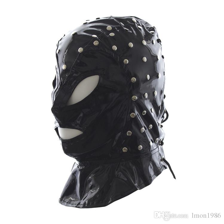 Adult Games Sex Products , Funny Sex Mask , Soft PU Leather Bondage Restraints Hood Mask , Sex Toys For Woman And Men