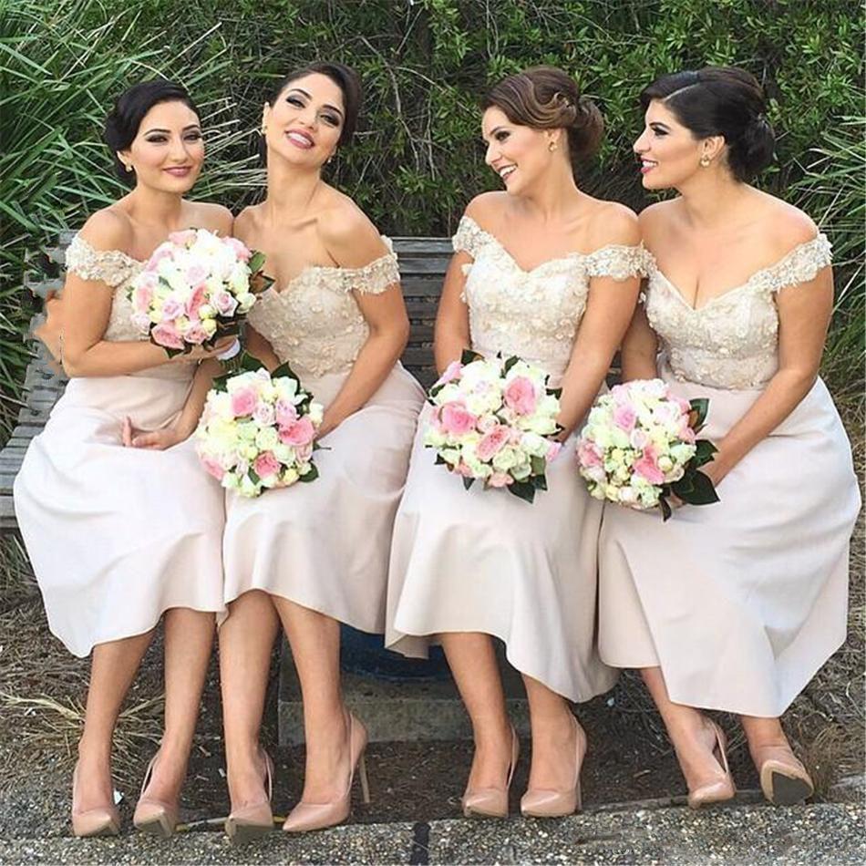 Omuz Düğün Için Gelinlik Modelleri 2018 Dantel Aplikler Çay Boyu Nedime Önlük Ucuz Düğün Konuk Kadın Parti Elbise
