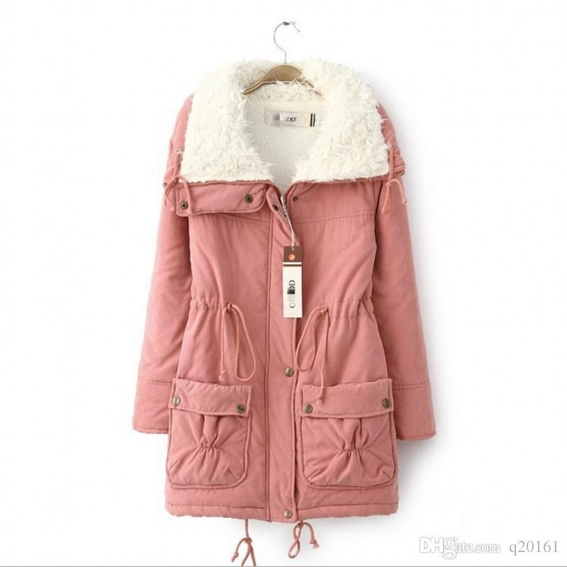 2016 الكورية الجنوبية نمط الشتاء أحدث أزياء المرأة معطف أنيق نقي اللون سميكة القطن مبطن الملابس الحملان الصوف ساحات كبيرة معطف