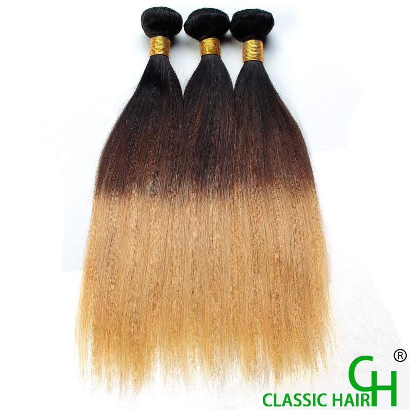 Grade 8a Virgin Hair Omber Hair Extensions Straight Hair T1b 27