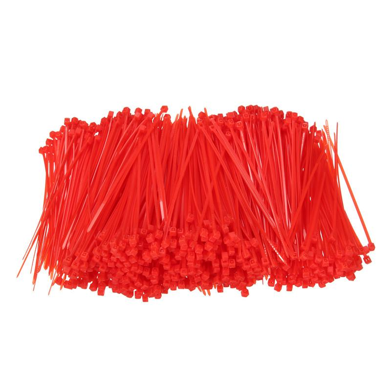 1000pcs Set 100mm X 1 8mm Self Locking Red Nylon66 Wire Cable Zip Ties Cable Ties Lines Rohs Certificated High Quality