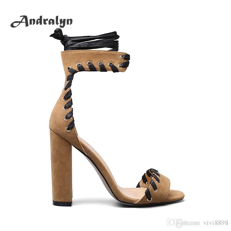 646fd6e620a Andralyn High Heels Shoes Women Thick Heel Ankle Strap Khaki Flocksewing  Fashion Women S Sandals Zapatos Mujer Silver Shoes Mens Sandals From  Vivi8898