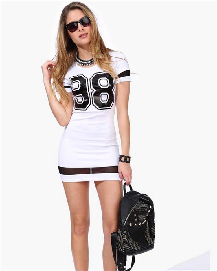 2017 Sexy Hip пакет Тонкий женщин летнее платье Номер 98 Распечатать Повседневные платья с коротким рукавом Mini vestidos дешевые белье-китай
