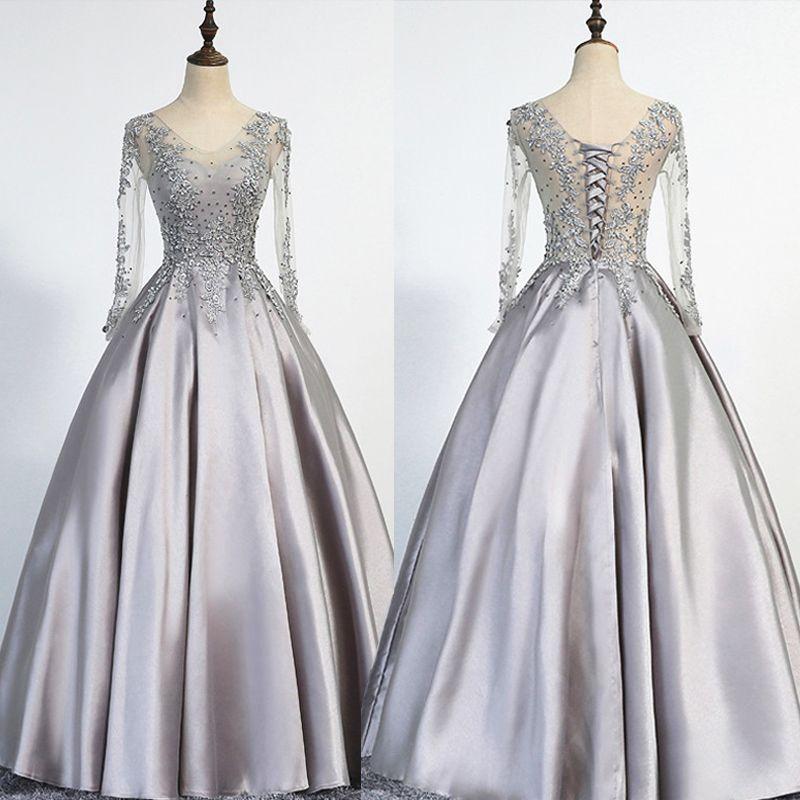 Elegant Plus Size Silver Evening Dresses Long 2017 Long Sleeves