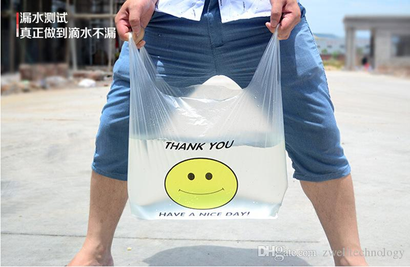 Transparent Smiling Face Portable Plastic Bags Customized Fresh Material Waterproof Multi-purpose Vest Shopping Bags high quality