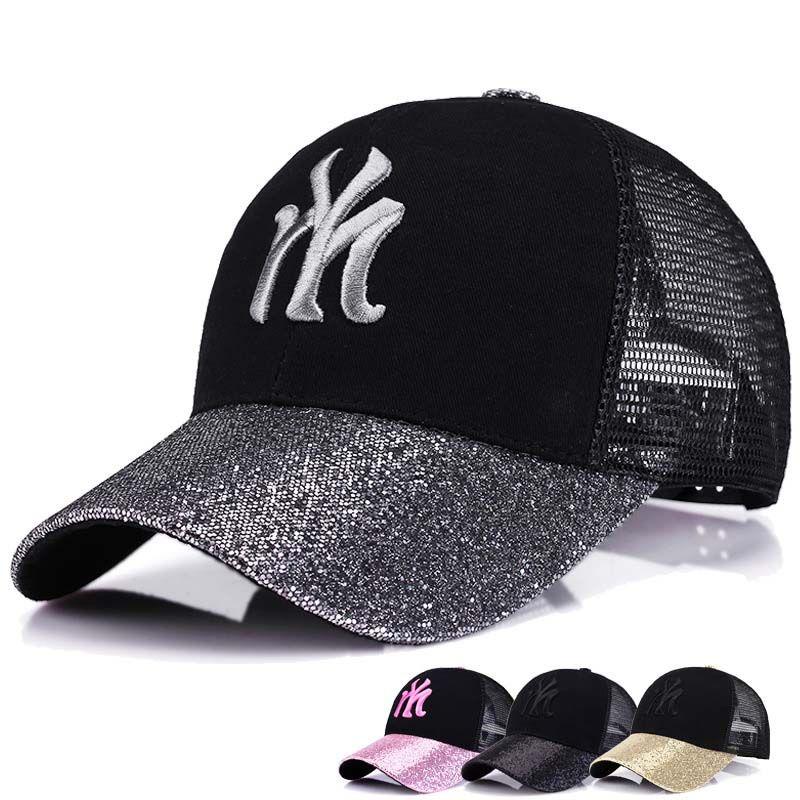 3a0034a0396 Black Baseball Cap for Women Sequins Summer Sport Hat for Golf ...