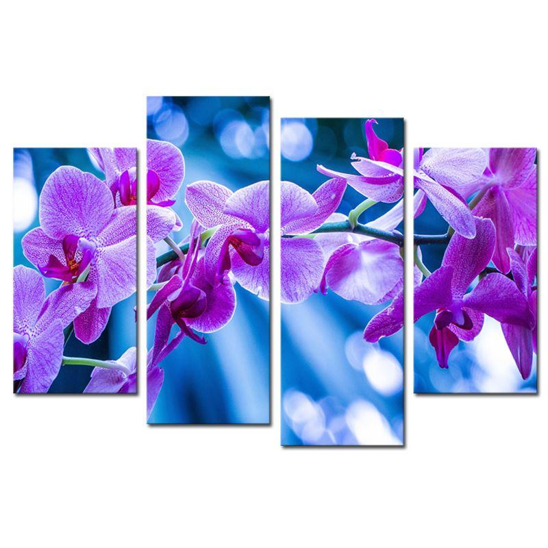 2018 4 Panels Dreamy Purple Flower Wall Art Picture Home Decoration ...