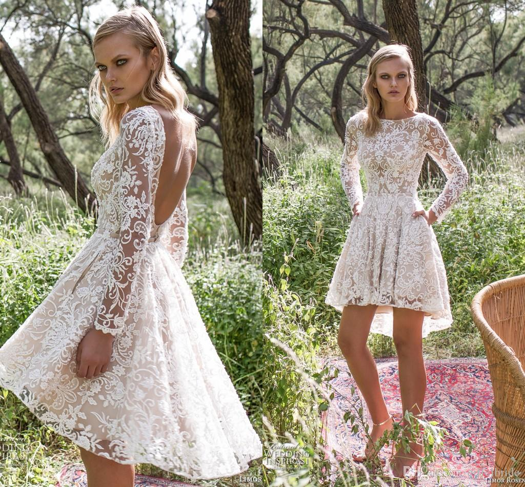 Discount 2016 Cheap Country Wedding Dress Sexy Sheer Lace Applique Jewel Neck Illusion Long Sleeve Camo A Line Open Back Short Beach Bridal Dresses