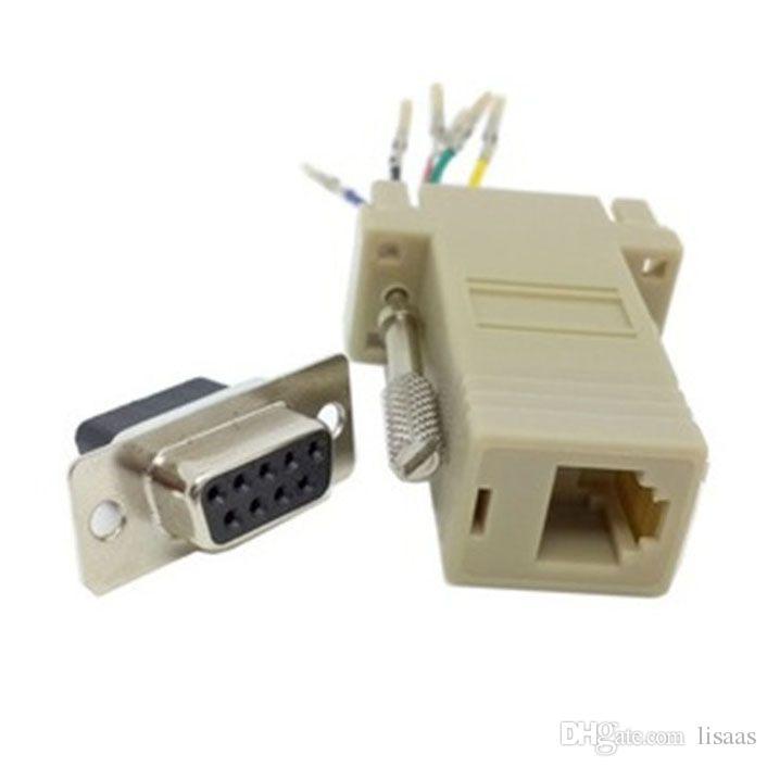 Venda quente Boa Qualidade Atacado 300 pçs / lote DB9 Fêmea para RJ45 Fêmea F / F RS232 Modular Adaptador Conector Extender Conversor