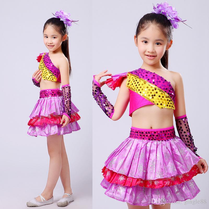 Compre Purple Girls Sequined Vestido De Baile Moderno Fiesta De Niños  Trajes De Baile Trajes Vestidos Salón De Baile Jazz Hip Hop Baile Tops +  Falda A ... 8caa8f6dbeb