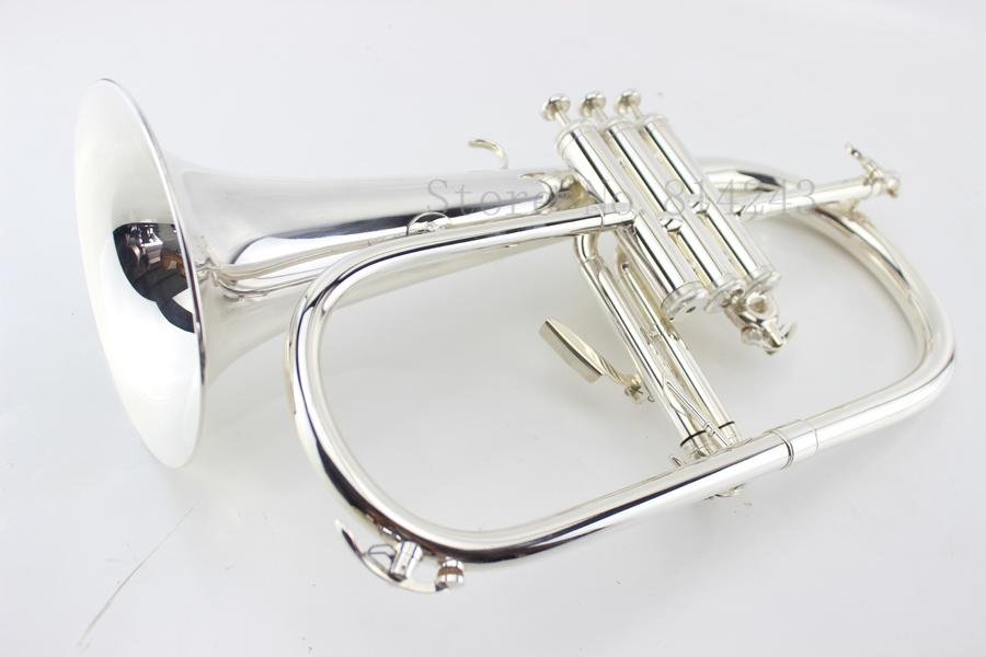 wholesale American Bach flugelhorn silver-plated B flat Bb professional trumpet Top musical instruments in Brass trompete horn