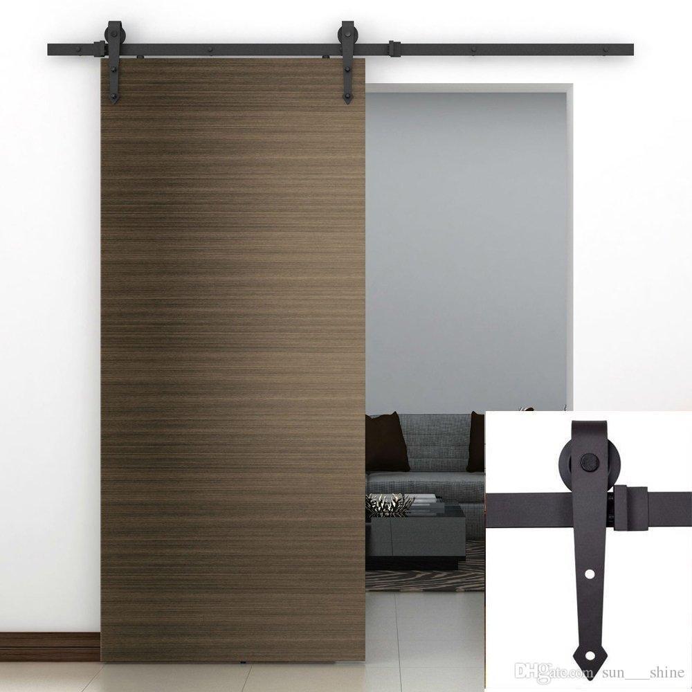 13ft Single Door Kit Black Bending Design Sliding Roller Barn Single