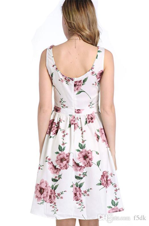 2017 Mode D'été Belle Floral Imprimé O Cou Sans Manches Femmes Robe Dos Nu Court Robe Décontractée
